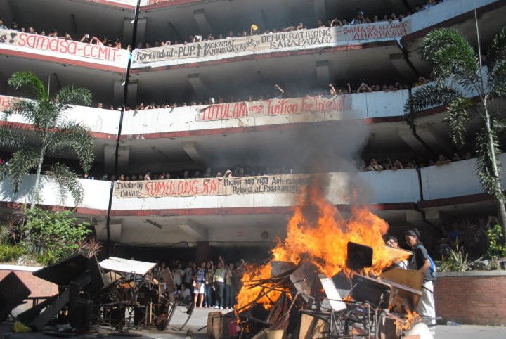 Protest action of students at Polytechnic University of the Philippines. (Bulatlat file photo)