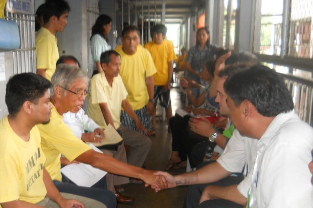 Lawyers visit political prisoners at Camp Bagong Diwa, Sept. 14. (Photo courtesy of BJMP/ bulatlat.com)