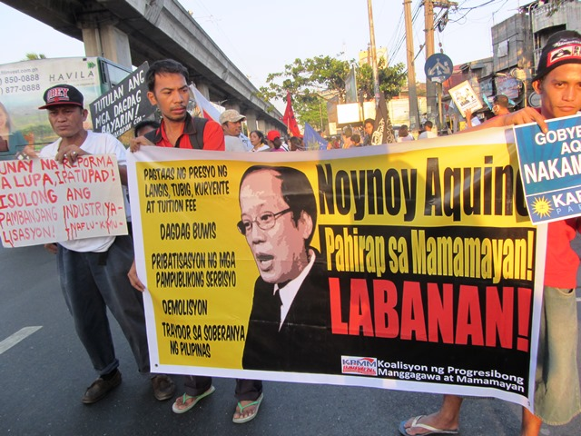 Broad array of groups protest against Aquino gov't policies that worsen poverty, hardships