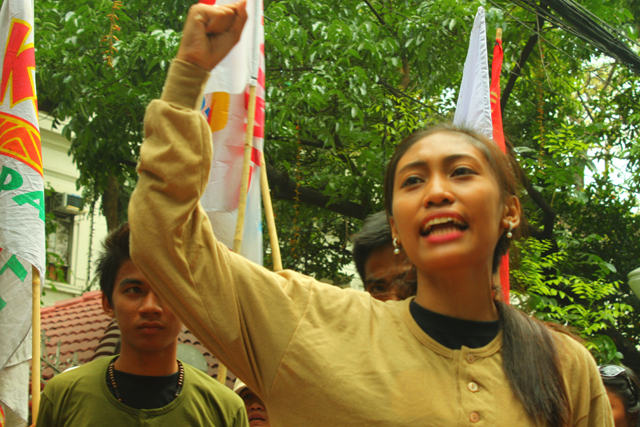 Ara, youngest daughter of Eden Marcellana, calls for justice. (Photo by Ronalyn V. Olea / Bulatlat.com)