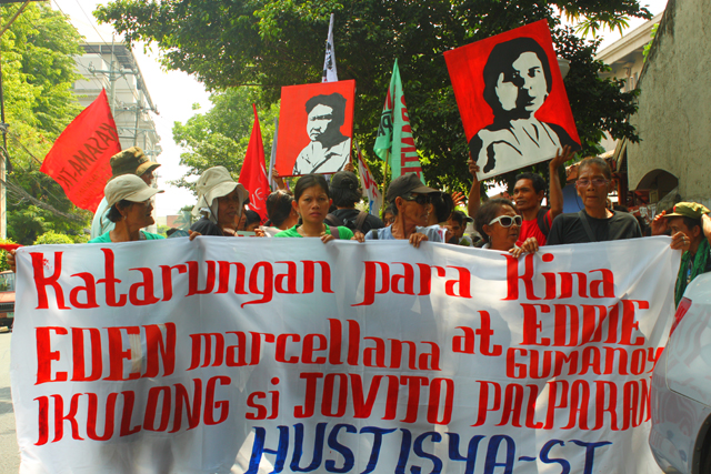 Activists from Southern Tagalog troop to the Department of Justice, April 22, to demand justice for Eden Marcellana and Eddie Gumanoy(Photo by Ronalyn V. Olea / Bulatlat.com)