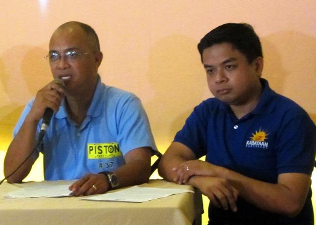 L-R: George San Mateo of Piston, Terry Ridon of Kabataan Partylist