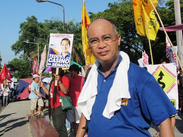 Piston Partylist's George San Mateo at Liwasang Bonifacio on Labor Day 2013 (Photo by M. Salamat)