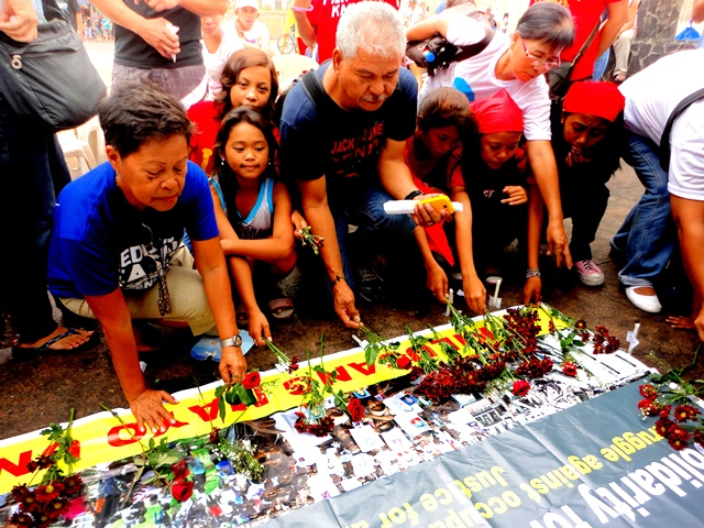 Workers mark in Manila the 1st year of Novo fire tragedy that killed 17 workers in Butuan City (Photo by Miles Quero Asa)