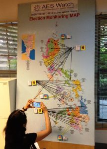 AES Watch volunteers plot  on Phl map reported poll troubles from May 2 to May 17