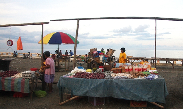 A seaside market is empty of shoppers while the sun starts to set in Palawan, the country's last frontier.  (Brooke's Point, Palawan)