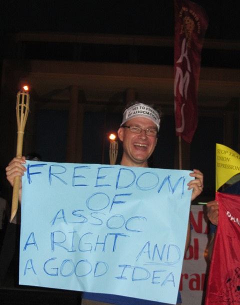 Australian Peter Murphy at a solidarity action with Filipino unionists in Quezon City