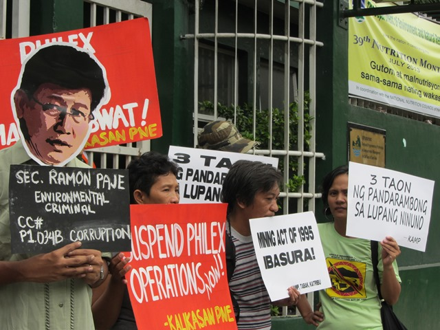 Indigenous peoples group demand the suspension of Philex's mining operation, and a probe on  environment secretary Ramon Paje for his questionable 'handling' of the largest mining disaster in Ph