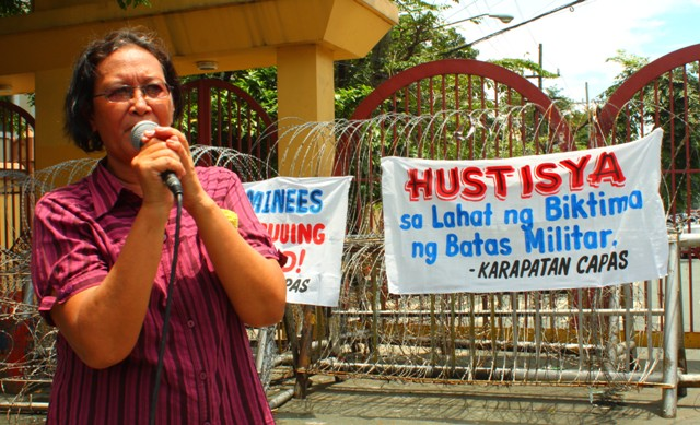 Marie Hilao-Enriquez, SELDA chairwoman, calls on Aquino to implement the law immediately. (Photo by Ronalyn V. Olea/ Bulatlat.com)