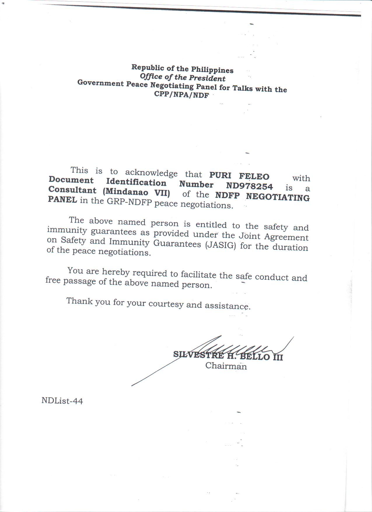 An electronic copy of the acknowledgement letter signed by former GRP panel chairman Silvestre Bello III certifying that Ma. Loida  Magpatoc is an NDFP consultant and covered by Jasig. (Courtesy of the NDFP)