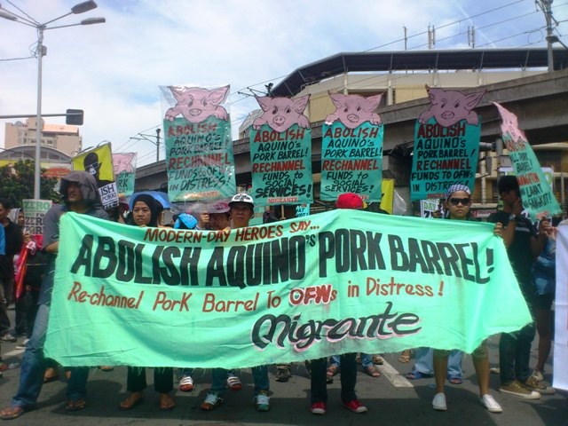 Families of OFWs hold protest action in Mendiola, call for abolition of pork barrel. (Photo by J. Ellao / Bulatlat.com)