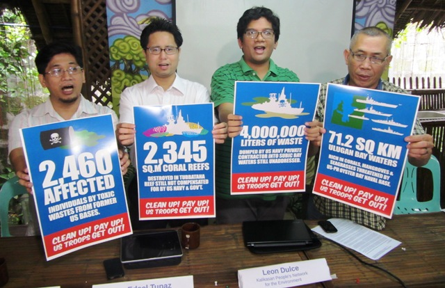 L-R: Dr. Giovanni Tapang (chairman of AGHAM), Atty. Edsel Tupaz (counsel for legal actions filed vs US Navy's 7th  Fleet), Leon Dulce (coordinator, Kalikasan-PNE), and Salvador France (Pamalakaya vice chairman) lead in exposing unaddressed environmental crimes by US military