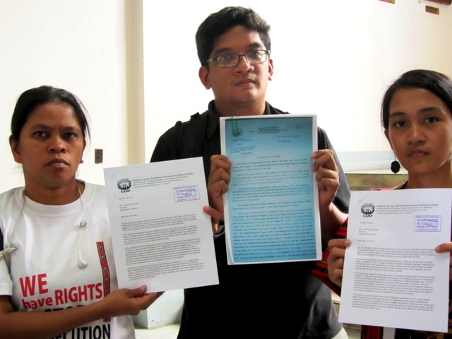 Representatives of Karapatan, Kalikasan-PNE and KAMP filed an urgent appeal to Justice Sec. De Lima to probe prosecutors' dismissal of witnesses' case vs soldiers accused in Capion massacre. (Oct 18, 2013, DOJ Manila)