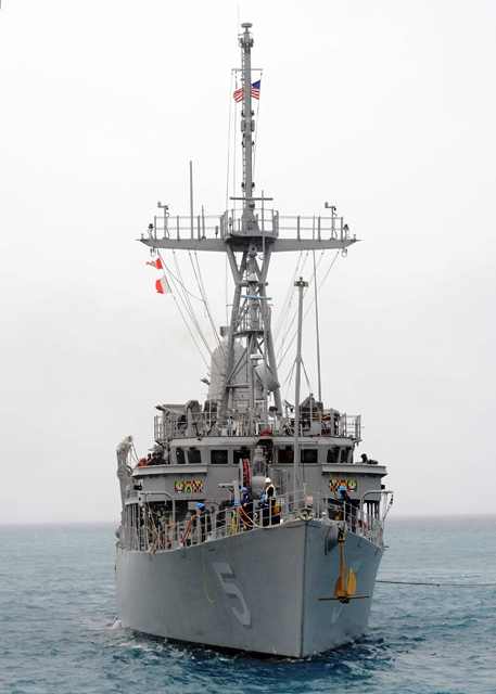 The former US minesweeper before the grounding 'mishap' (Photo from US Navy website)