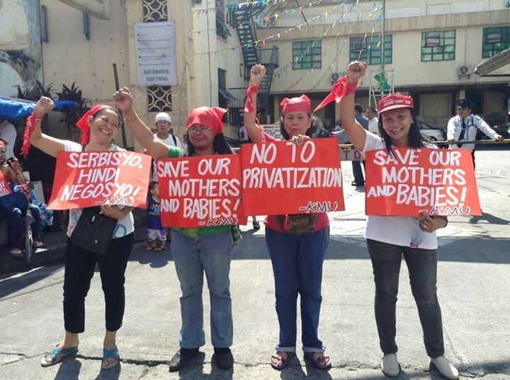 Women from the labor group Kilusang Mayo Uno protest against Fabella's impending privatization last Feb. 3, Monday. (Photo courtesy of Kilusang Mayo Uno)