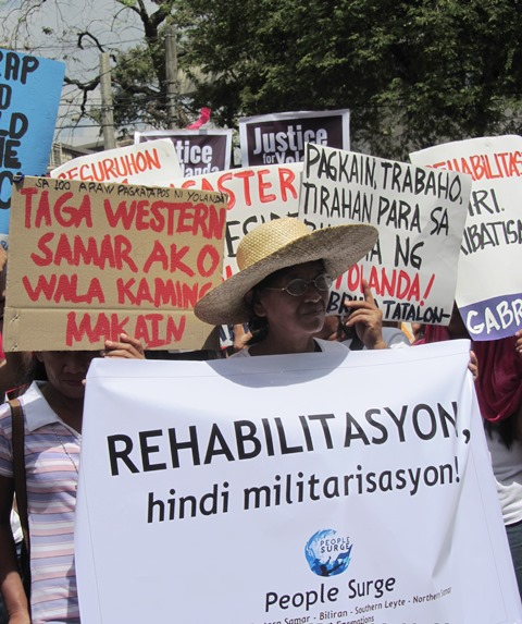 Survivors decry govt action as still too little, too slow, too inappropriate for the peoples' needs, 100 days after Yolanda.