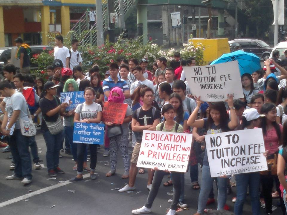 On Jan. 30, youth and students protested against tuition and other fees increase and the incessant price hikes of commodities and utilities. (Photo from Anakbayan/Bulatlat.com)