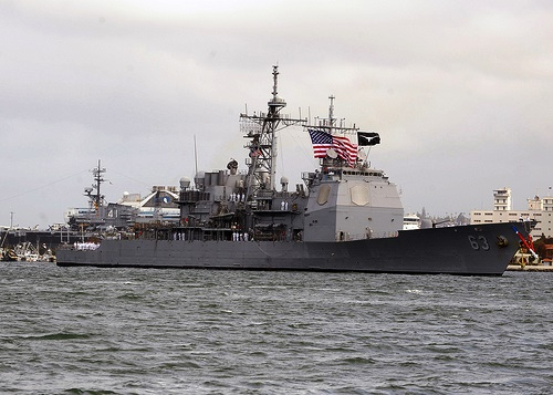 The latest to dock in a 'routine port call,' USS Cowpens (CG 63), a guided-missile cruiser, arrives in Manila March 9 to replenish supplies and for the crew to get some 'rest and relaxation'. The warship is part of the U.S. Pacific Fleet, crewed by approximately 360 sailors. (Photo from US Embassy in Manila)