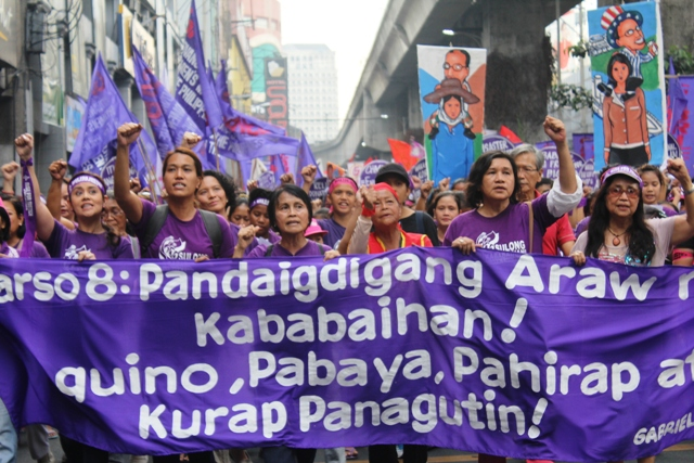 On International Women's Day, women lambast Aquino for 'sins against Filipinos'