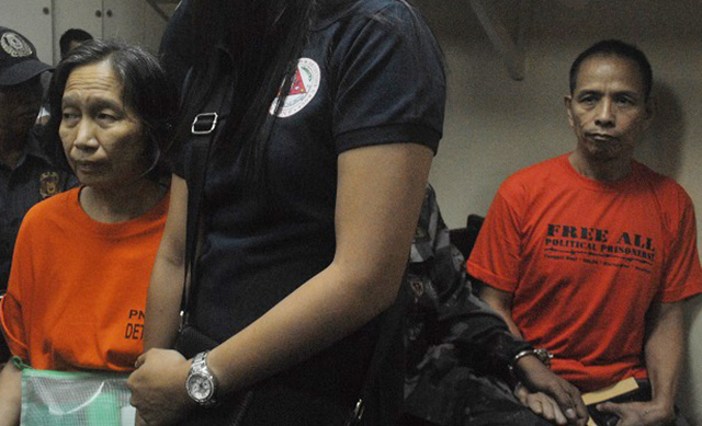 Wilma Austria and Benito Tiamzon at the court room (Photo by Macky Macaspac)