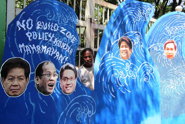 President Aquino and his 'gang' criticized to be as destructive as supertyphoon Yolanda. (Photo by M. Salamat)