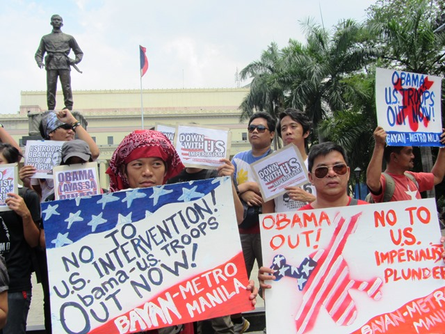 Bayan-Metro Manila in a preparation protest action at Liwasang Bonifacio, Apr 25 (Photo by M. Salamat)