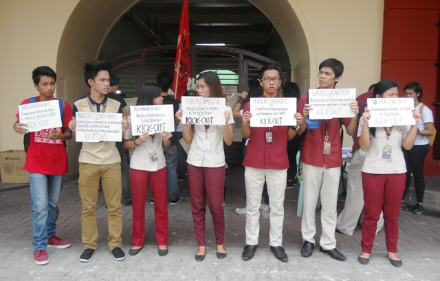 "Some of the students who were blacklisted by Eulogio ""Amang"" Rodriguez Institute of Science and Technology administration. (Photo by A. Umil/ Bulatlat.com)"