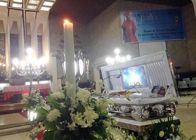 The remains of Bishop Tomas Millamena (Photo by Janess Ann J. Ellao/ Bulatlat.com)