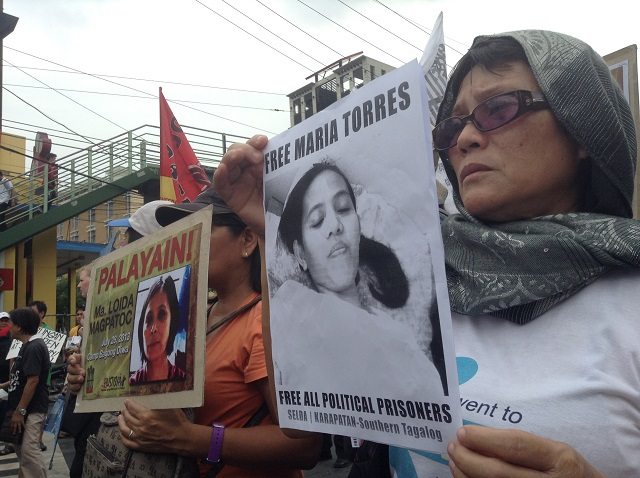Human rights defenders demand release of Torres (Photo by J. Ellao / Bulatlat.com)