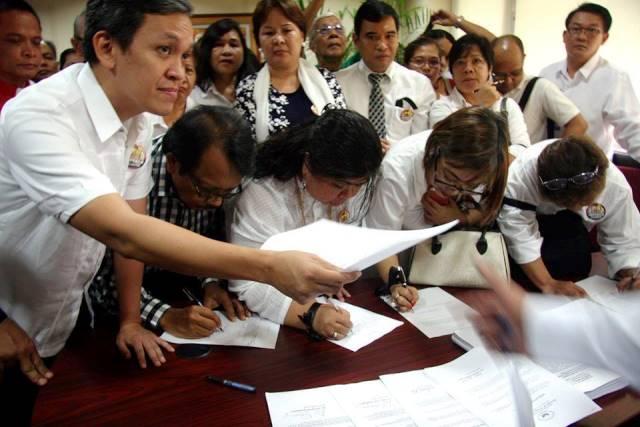 28 impeachment complainants vs Pres. Aquino at the House of Representatives Jul 21 (Photo courtesy of Kodao Productions)