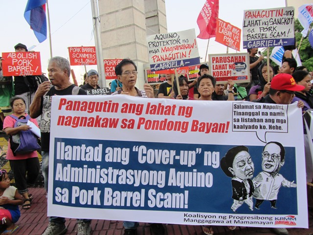 BULATLAT File Photo A scene in one of protest actions against Aquino administration's 'coverup' of accountability in various pork barrel scams. (Photo by M. Salamat / Bulatlat.com)