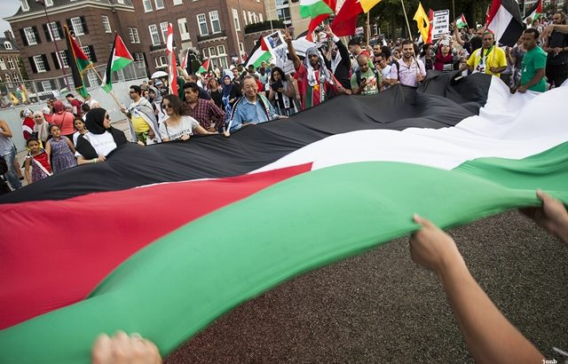 Palestinian supporters march in Amsterdam