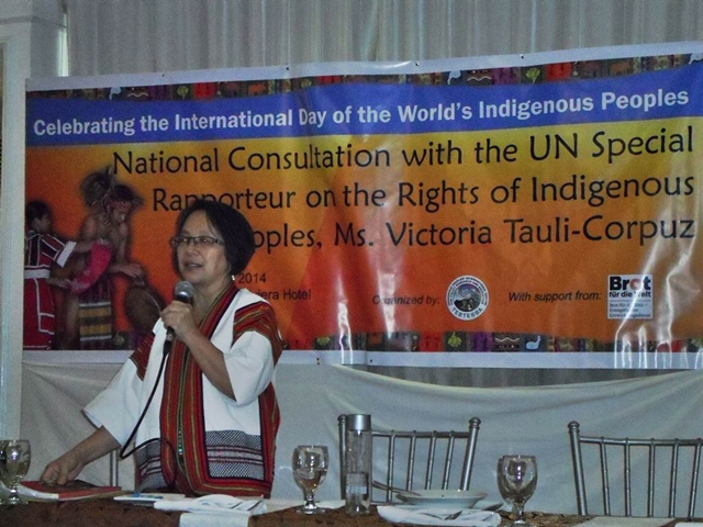 Victoria Tauli-Corpuz, the newly-appointed United Nations Special Rapporteur on the Rights of Indigenous Peoples