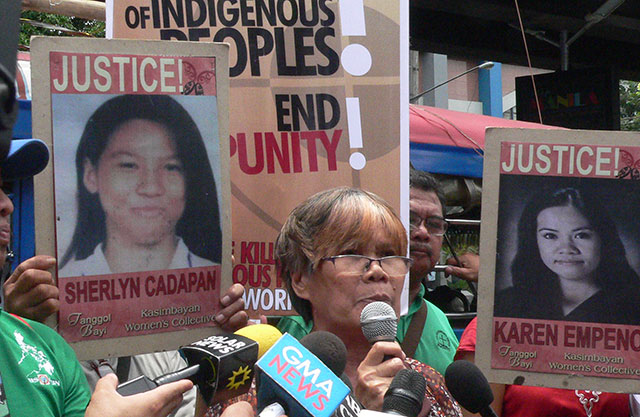 Erlinda Cadapan, mother of Sherlyn, one of the two University of the Philippines students abducted by alleged men of retired Gen. Jovito Palparan Jr. on July 26, 2006, joins a protest action outside the National Bureau of Investigation (NBI). (Photo by Dee Ayroso / Bulatlat.com)