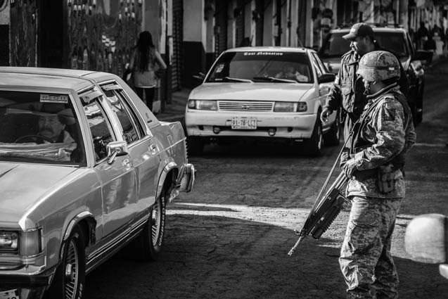 In February 2012, elements of the Mexican army enter the autonomous community of Cheran in Michoacan, despite not having permission. (Photo: Heriberto Paredes)