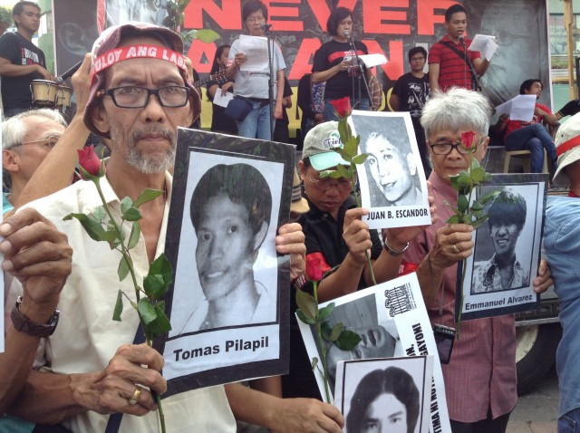 Activists pay tribute to victims of human rights violations during the Marcos dictatorship. (Photo by J. Ellao / Bulatlat.com)
