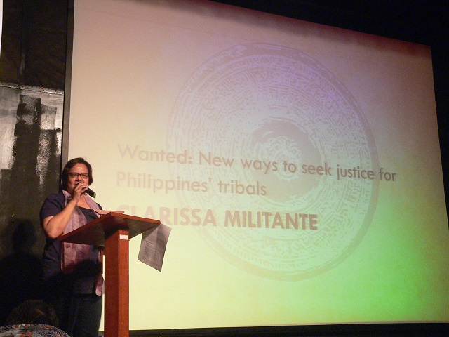 Clarissa Militante of UCA News receives her awards for online media (Photo by Dee Ayroso / Bulatlat.com)