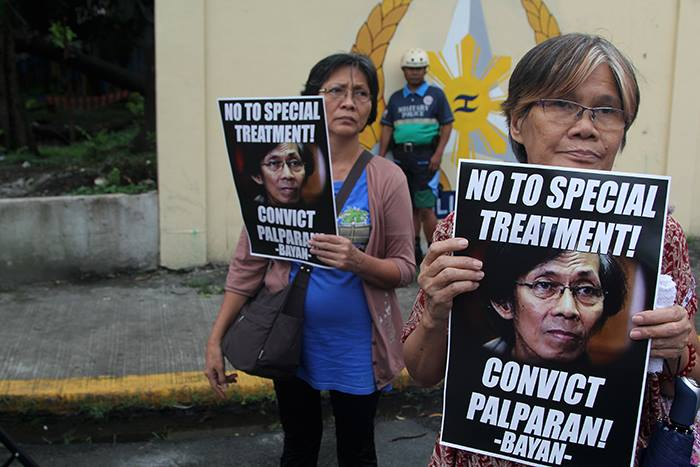 Kin of victims, human rights defenders slam transfer of Palparan to military jail (Photo by Raymund B. Villanueva / Kodao Productions)
