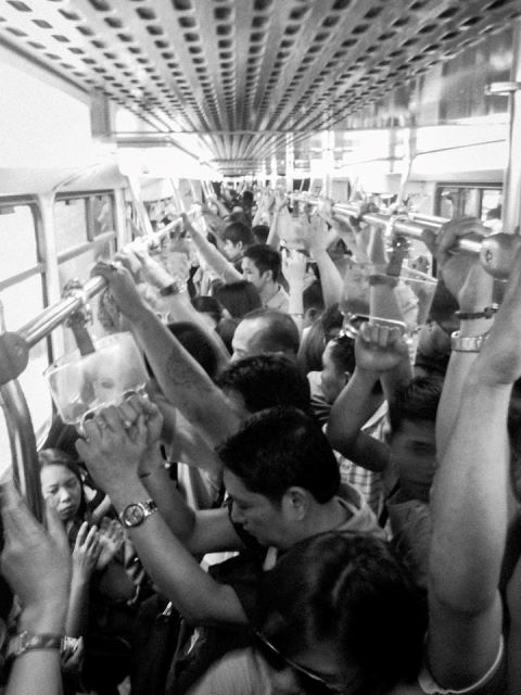 Jampacked train ride (Photo courtesy of Kalikasan PNE, Oct 2014)