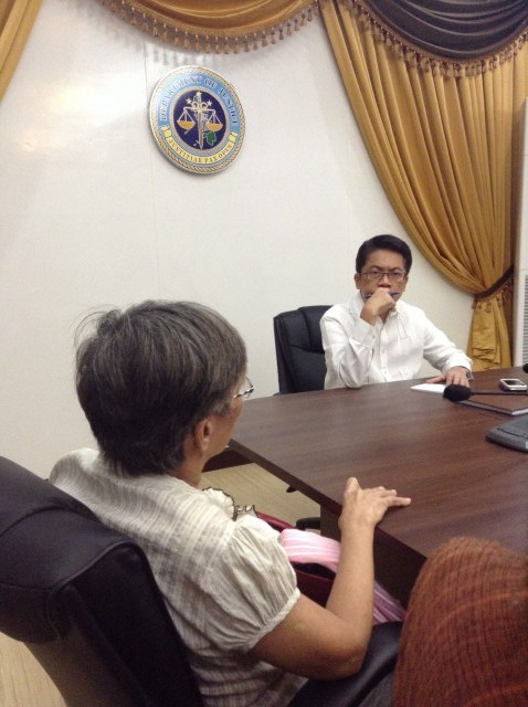 Justice undersecretary Baraan during the dialogue with rights advocates (Photo by J. Ellao / Bulatlat.com)
