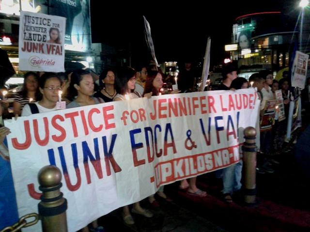 """Teachers and students from UP join the """"Justice for Jennifer Laude, Junk VFA Network.""""   (Photo by A.E. dela Cruz)"""
