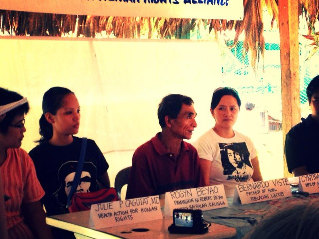 Relatives of the 'Lacub martyrs' speak at the press conference after the National Solidarity Mission in Abra on October 1. (Photo from the Facebook account of Luchie Maranan/ Bulatlat.com)