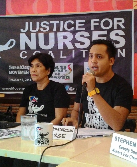 Dundee Concepcion of We Nurse Inc., said there are 300,000 underemployed nurses in the Philippines including him. (Photo by A. Umil/ Bulatlat.com)