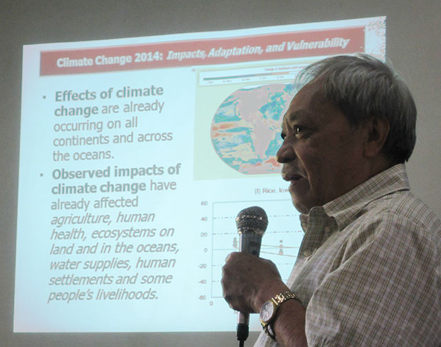 Atmospheric scientist Dr. Leoncio Amadore calls for a science-based disaster risk reduction and climate change adaptation measures. (Photo by Ronalyn V. Olea/ Bulatlat.com)