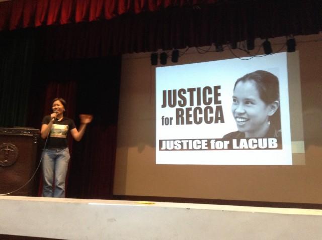 """""""Hindi lahat ng maganda, nag-aartista. Yun iba, NPA,"""" says Jang Monte, sister of one of the Lacub martyrs Recca. (Photo by J. Ellao / Bulatlat.com)"""