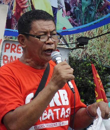 Antonio Flores, secretary general of Kilusang Magbubukid ng Pilipinas (KMP) was arrested Nov. 29 during a protect action in front of President Benigno Aquino III's residence at Times st., Quezon City. (Photo by KMP)