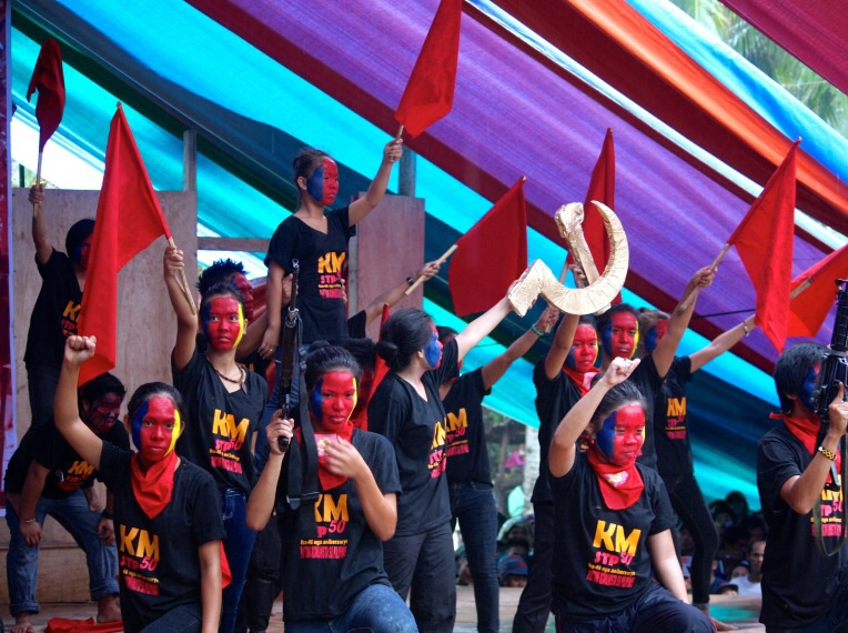 """Their """"National Democratic Revolution"""" may have just turned 46 years long, but these Kabataang Makabayan (Patriotic Youth) members vow to dedicate their lives for its ultimate victory. (Marihatag, Surigao del Sur)"""