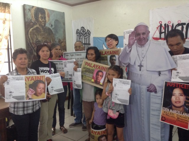 Families of disappeared, along with kin of political prisoners, say Pope Francis' solidarity will uplift their spirits. (Photo by J. Ellao / Bulatlat.com)