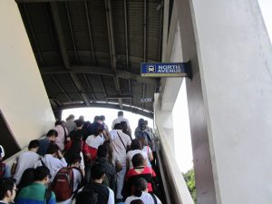 Crowded MRT station in North Avenue