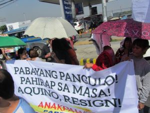Scene from a Feb 24 picket in front of Petron in Philcoa, Q.C.